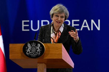 Britain's Prime Minister Theresa May speaks at a news conference during the EU Summit in Brussels, Belgium, March 9, 2017. REUTERS/Dylan Martinez