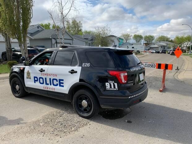 West Division officers were patrolling a back lane near 152nd Street and 102nd Avenue when they observed a man with a saw lying under a parked vehicle.  (David Bajer/CBC - image credit)