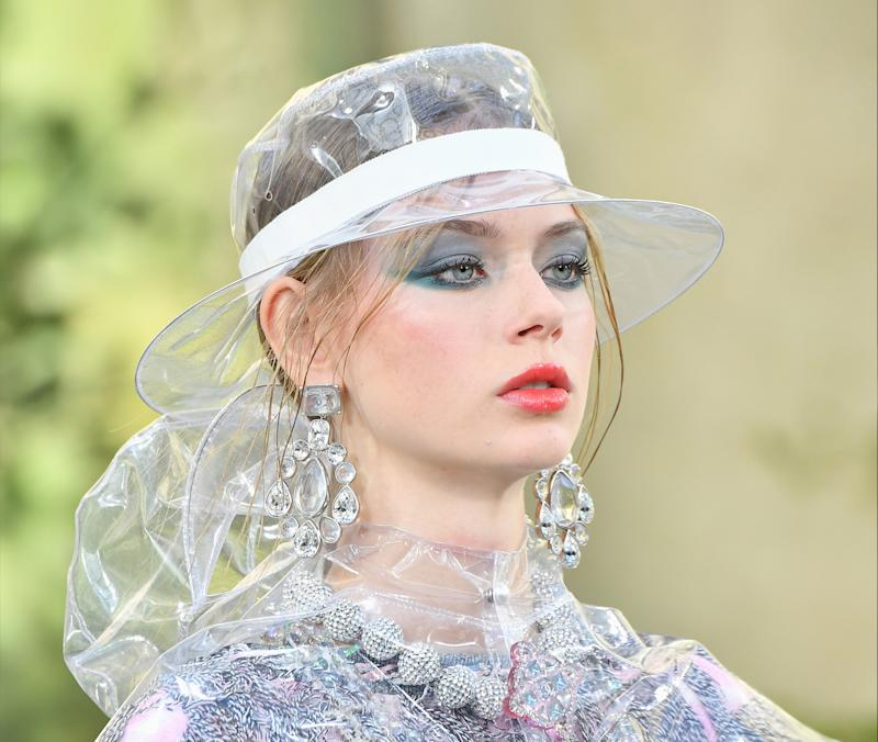 A model walks the runway during the Chanel show as part of Paris Fashion Week.