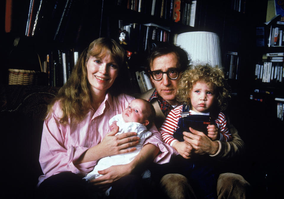 (clockwise fr. top L) Actress Mia Farrow w. longtime boyfriend, director Woody Allen, their son Satchel and adopted daughter Dylan.  (Photo by David Mcgough/DMI/The LIFE Picture Collection via Getty Images)