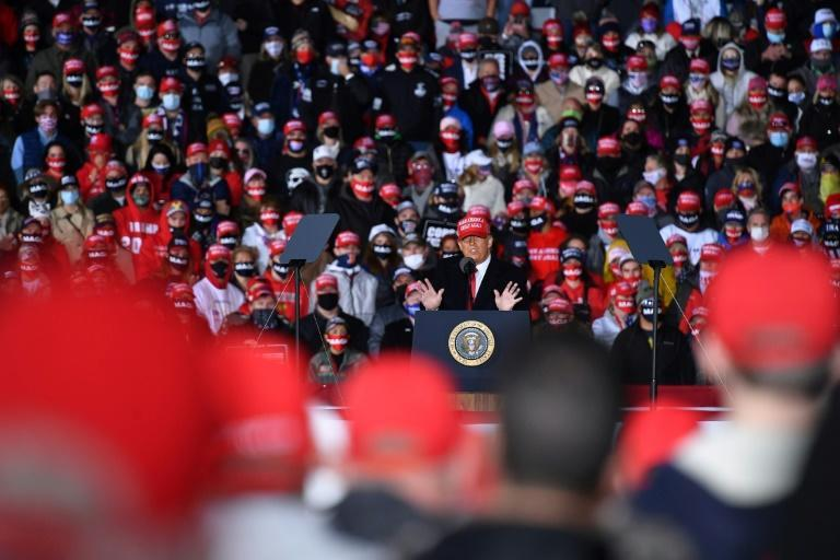 President Donald Trump rallies supporters in Janesville, Wisconsin as part of a three-state swing on October 17, 2020