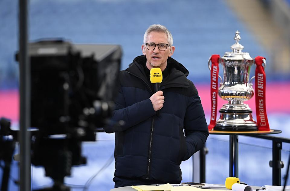 Gary Lineker presenting the FA Cup final on the BBC (Getty)