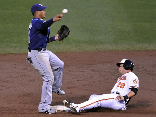 Baltimore Orioles' Steve Pearce, right, is out at second as Tampa Bay Rays shortstop Yunel Escobar throws to first on a ground ball hit by Nate McLouth in the second inning of a baseball game on Wednesday, Aug. 21, 2013, in Baltimore. McLouth was safe at first. 2(AP Photo/Gail Burton)