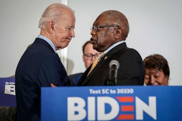 PHOTO: Democratic presidential candidate former Vice President Joe Biden shakes hands with Rep. and House Majority Whip James Clyburn as Clyburn announces his endorsement for Biden at Trident Technical College, Feb. 26, 2020, in North Charleston, S.C. (Drew Angerer/Getty Images, FILE)