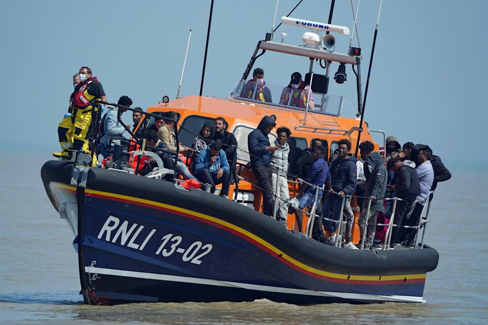 A group of people thought to be migrants crossing from France (Gareth Fuller/PA) (PA Wire)