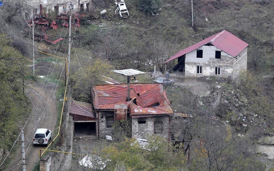 Russian outposts are established along the contact line in Nagorno-Karabakh and the Lachin Corridor mountain pass - Alexander Ryumin\\TASS via Getty Images