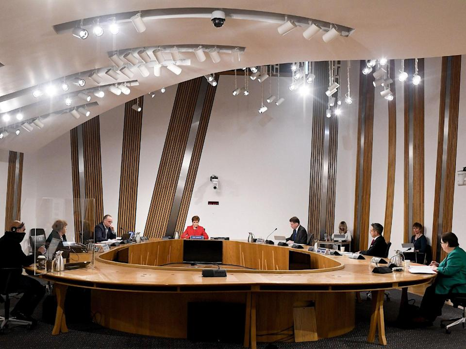 Scotland's first minister, Nicola Sturgeon, giving evidence to the Committee on the Scottish Government Handling of Harassment Complaints, at Holyrood  ( Jeff J Mitchell/PA)