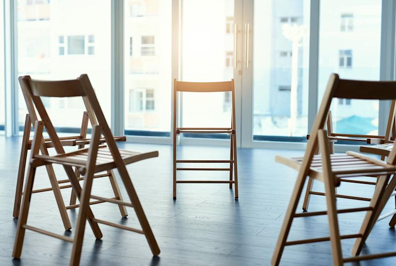 Shot of chairs in an empty room with no people inside