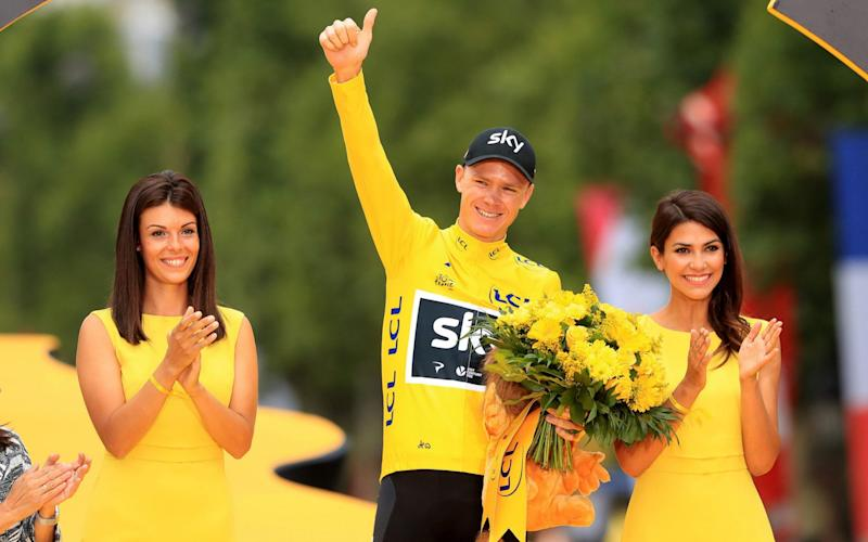 Chris Froome celebrating his fourth Tour de France win in 2017 - PA