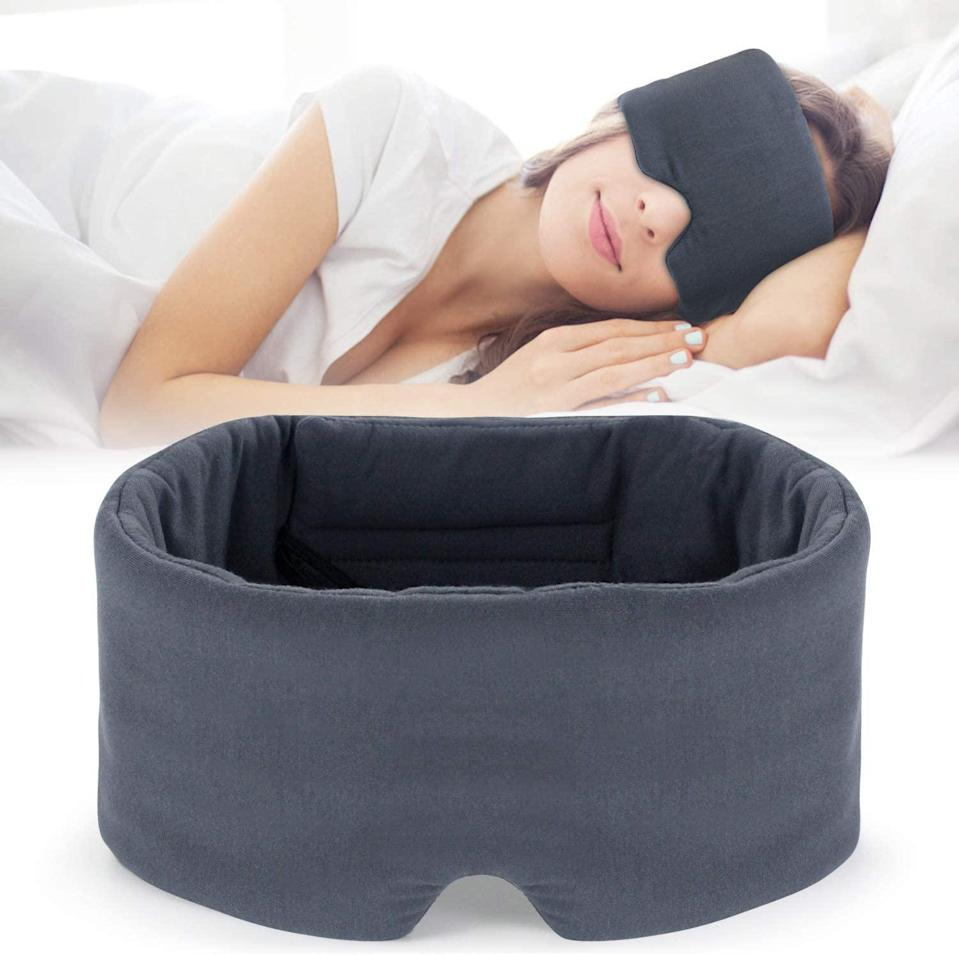 """<h2>57% Off Mavogel Eye Mask</h2><br>""""I have to confess I first spied this on Eva Chen's Instagram story and immediately bookmarked it. I'm having the worst case of itchy-eye allergies right now and all I want is something cool and soothing on my eyes to help me fall asleep. Those silk sleep masks I've tried in the past never seem to stay on my head and are twisted all around my neck by morning. This one looks perfect for my size-large head and it promises to block out any annoying outside light."""" <br><br><em>— Lisa Dionisio, Director of Homepage and Email</em><br><br><strong>Mavogel</strong> Modal Eye Mask, $, available at <a href=""""https://www.amazon.com/gp/product/B07LG4K19C"""" rel=""""nofollow noopener"""" target=""""_blank"""" data-ylk=""""slk:Amazon"""" class=""""link rapid-noclick-resp"""">Amazon</a>"""