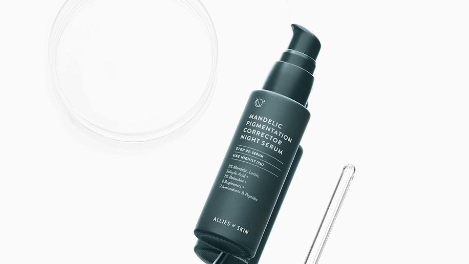 <p><span>Allies of Skin Mandelic Pigmentation Corrector Night Serum</span> ($92) contains 11% mandelic, lactic, and salicylic acid, to promote cell turnover and exfoliate the skin while keeping breakouts at bay. It also has several peptides and extracts, like Rumex Occidentalis extract, that brightens and inhibits excess melanin production. In fact, the Mandelic Pigmentation Corrector Night Serum has exactly eight different brighteners, including vitamin C, and seven different peptides and antioxidants. It even has 1% of the retinol alternative, bakuchiol, and niacinamide. The formula exfoliates, brightens, and is anti-aging - this serum clearly can do it all!</p>