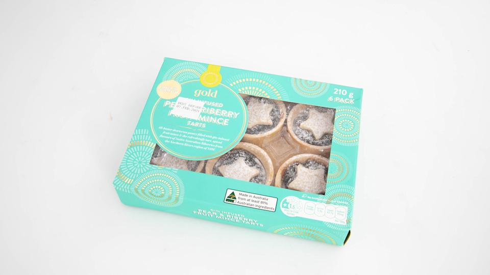 Woolworths Gold Gin Infused Pear & Riberry Fruit Mince Tarts. Photo: Supplied