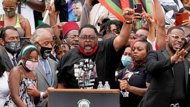 PHOTO: Jacob Blake Sr., father of Jacob Blake, Jr., speaks at the Lincoln Memorial during the 'Commitment March: Get Your Knee Off Our Necks' protest against racism and police brutality, Aug. 28, 2020, in Washington D.C. (Jacquelyn Martin/POOL/AFP via Getty Images)
