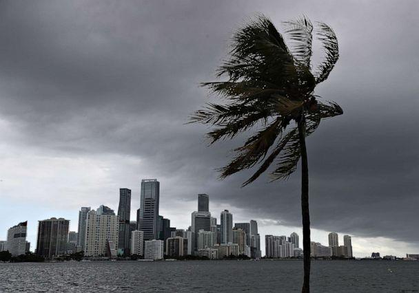 PHOTO: Storm clouds are seen over the city as Hurricane Isaias approaches the east coast of Florida, on August 01, 2020, in Miami. (Joe Raedle/Getty Images)