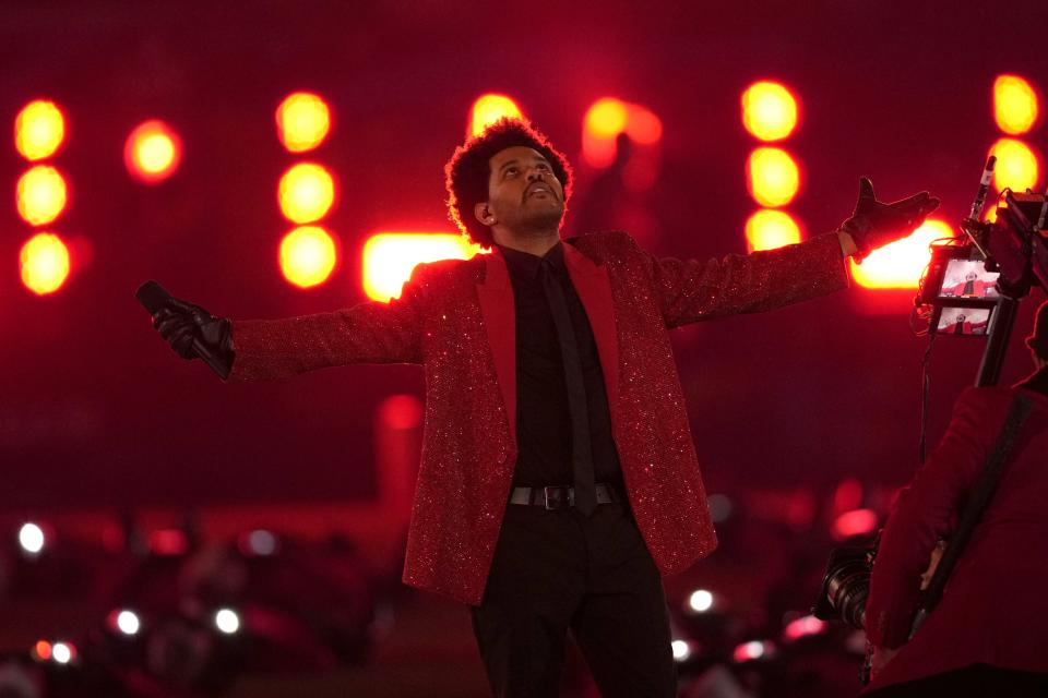 The Weeknd performs during the halftime show of the NFL Super Bowl 55 football game between the Kansas City Chiefs and Tampa Bay Buccaneers, Sunday, Feb. 7, 2021, in Tampa, Fla. (AP Photo/Chris O'Meara)