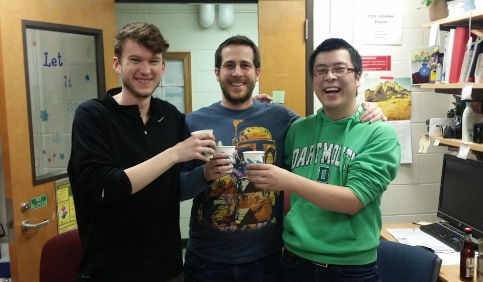 Wang Nianshuang (right) with, from left, graduate student Daniel Wrapp who was also involved in mapping the protein spike's structure, and Jason McLellan, associate professor at UT Austin. Photo: Handout