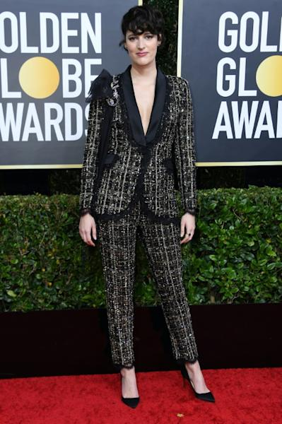 British actor Phoebe Waller-Bridge in the suit she will auction for Australian relief efforts