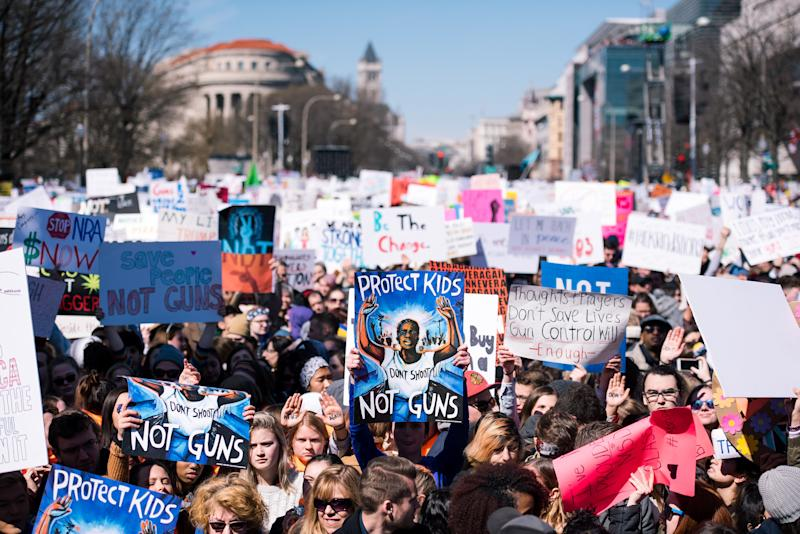 People holding signs filled blocks of Pennsylvania Avenue during March For Our Lives on March 24. (SOPA Images via Getty Images)