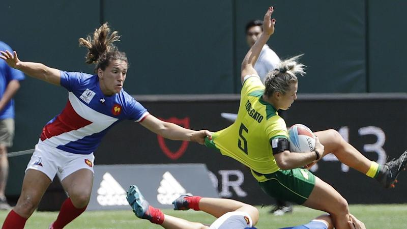 France have stunned Australia in their semi-final Women's Rugby Sevens World Cup