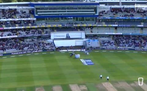 Aerial view Edgbaston lunch day two - Credit: Sky Sports Cricket