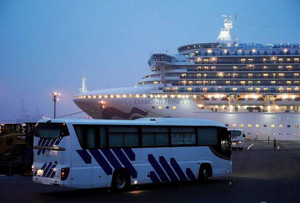 PHOTO: Buses with closed curtains arrive at the Daikoku Pier Cruise Terminal where the Diamond Princess cruise ship is docked in Yokohama, Tokyo, Feb. 16, 2020. (Franck Robichon/EPA via Shuttershtock)