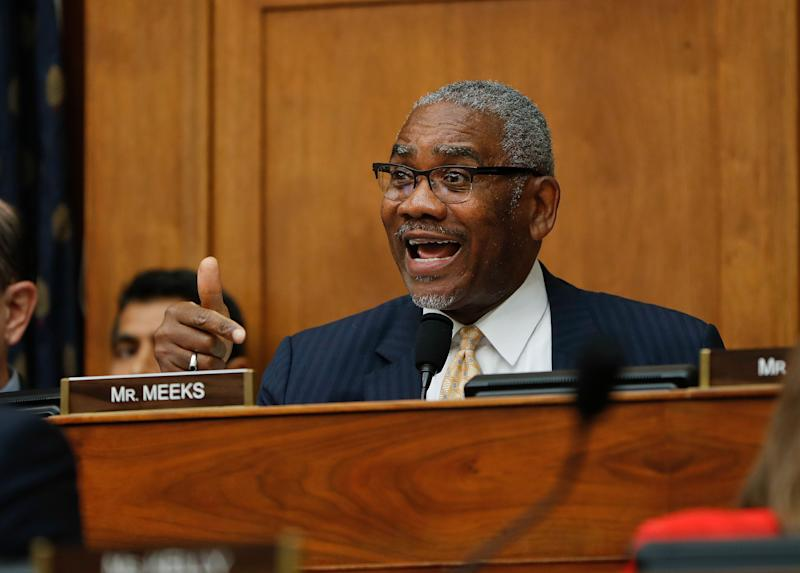 Rep. Gregory Meeks, D-NY., gestures while speaking during Secretary of State Mike Pompeo's testimony at the House Foreign Affairs Committee hearing on Capitol Hill in Washington, Wednesday, May 23, 2018. (AP Photo/Pablo Martinez Monsivais)