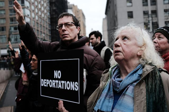<p>Hundreds of immigration activists, clergy members and others participate in a protest against President Trump's immigration policies in front of the Federal Building on Jan. 11, 2018, in New York City. (Photo: Spencer Platt/Getty Images) </p>