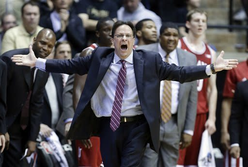 Indiana coach Tom Creen questions a call in the first half of an NCAA college basketball game against Purdue in West Lafayette, Ind., Wednesday, Jan. 30, 2013. (AP Photo/Michael Conroy)