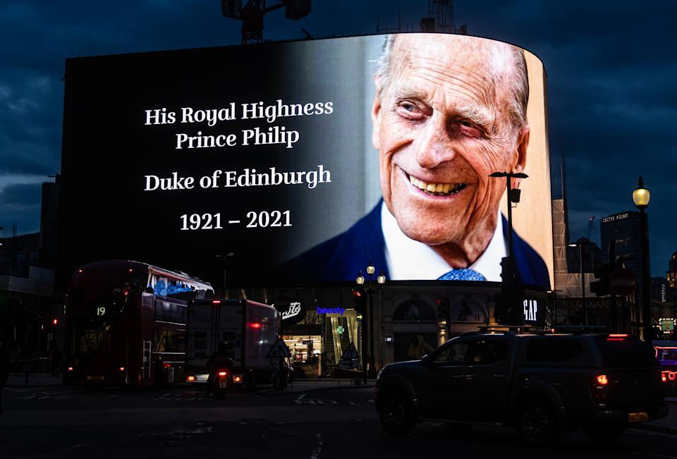 A digital tribute of Prince Phillip is displayed in Piccadilly Circus  following the announcement of the death of The Prince Phillip, Duke of Edinburgh at the age of 99 on Friday 9th April 2021. (Photo by Tejas Sandhu/MI News/NurPhoto via Getty Images)
