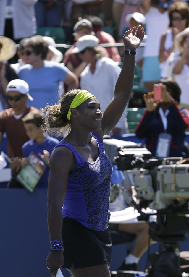 Serena Williams celebrates after defeating Andrea Petkovic, from Germany, in their semifinal in the Bank of the West Classic tennis tournament in Stanford, Calif., Saturday, Aug. 2, 2014. Williams won 7-5, 6-0. (AP Photo/Jeff Chiu)