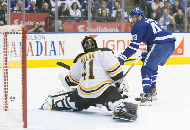 Toronto Maple Leafs' Nazem Kadri (43) watches as his shot is stopped by Boston Bruins goaltender Jaroslav Halak during first-period NHL hockey game action in Toronto, Monday, Nov. 26, 2018. (Chris Young/The Canadian Press via AP)