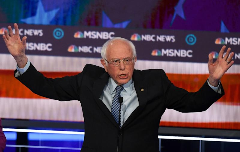 Democratic presidential hopeful Vermont Senator Bernie Sanders speaks during the ninth Democratic primary debate of the 2020 presidential campaign season co-hosted by NBC News, MSNBC, Noticias Telemundo and The Nevada Independent at the Paris Theater in Las Vegas, Nev. on Feb. 19, 2020.