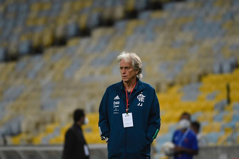 Flamengo team coach Jorge Jesus gestures during a Carioca Championship 2020 football match against Bangu at the Maracana stadium, in Rio de Janeiro, Brazil, on June 18, 2020, which is played behind closed doors as the city gradually eases its social distancing measures aimed at curbing the spread of the COVID-19 coronavirus. (Photo by MAURO PIMENTEL / AFP) (Photo by MAURO PIMENTEL/AFP via Getty Images)