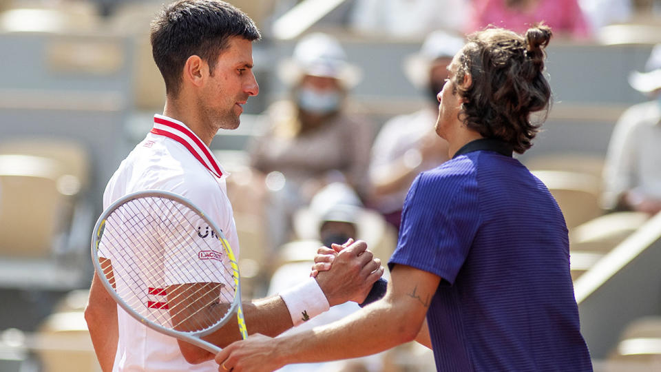 Novak Djokovic and Lorenzo Musetti, pictured here after their fourth round clash at the French Open.