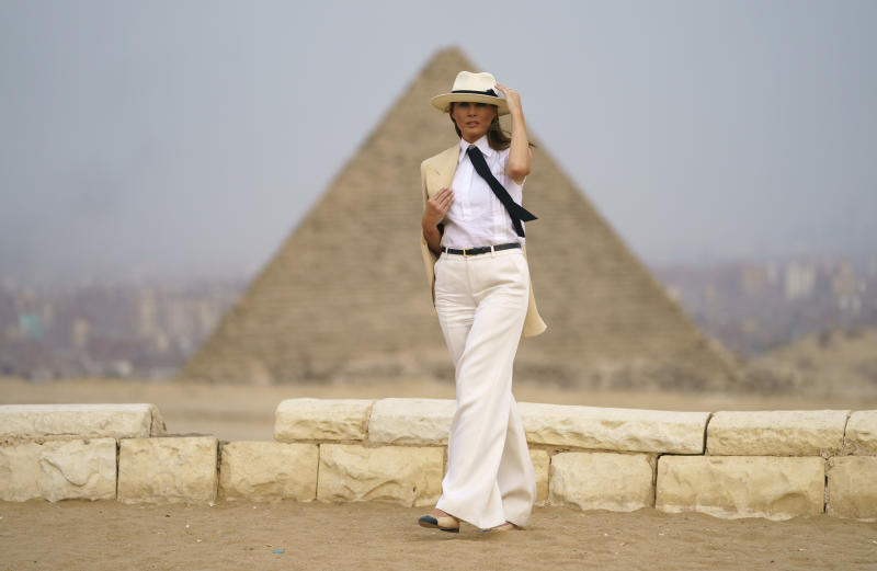 <p> First lady Melania Trump visits the historical site of the Giza Pyramids in Giza, near Cairo, Egypt. Saturday, Oct. 6, 2018. First lady Melania Trump is visiting Africa on her first big solo international trip. (AP Photo/Carolyn Kaster) </p>