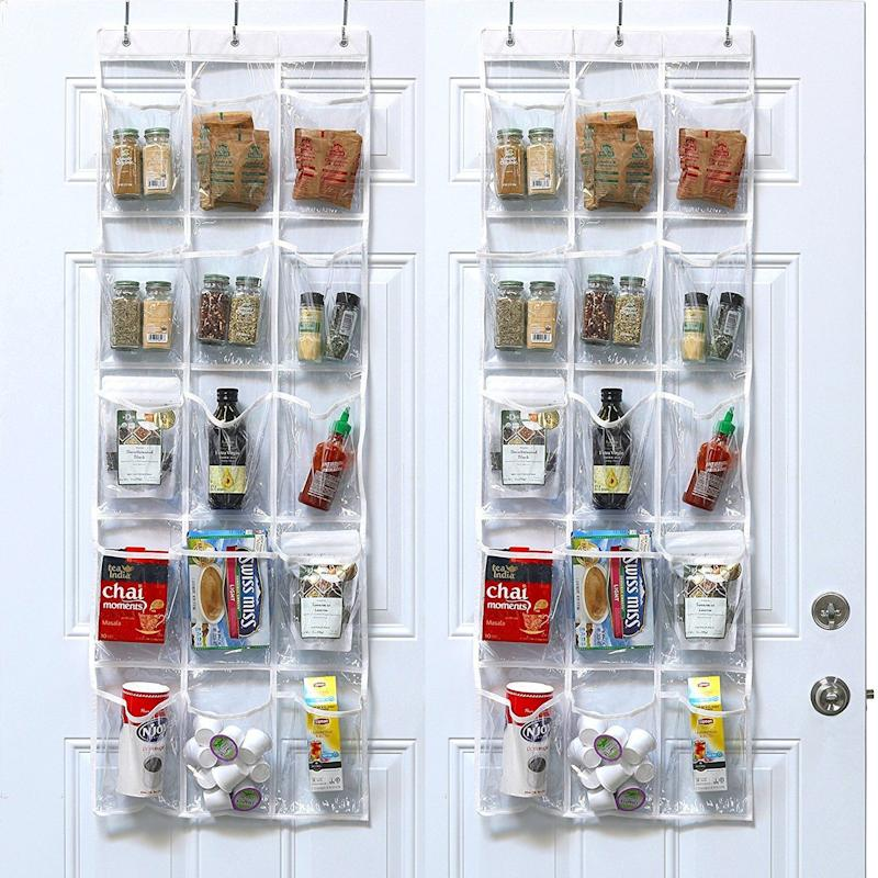 "Who says over-the-door organizers are only for closets? Take the <a href=""https://www.amazon.com/Pack-SimpleHouseware-Crystal-Hanging-Organizer/dp/B06XSTVPKB/"" target=""_blank"">genius design of hanging organizers</a> and bring them to your pantry to store dry goods, spices, k-cup coffee pods, condiments and more."