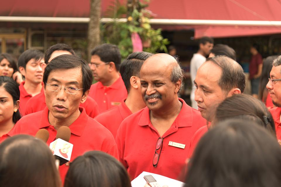 Singapore Democratic Party (SDP) secretary-general Chee Soon Juan (left) and SDP chairman Paul Tambyah (centre) at a media doorstop on Sunday (4 August). (PHOTO: SDP)