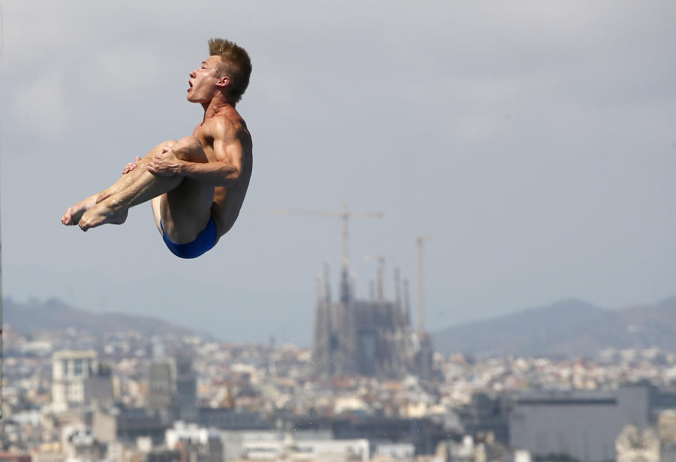 Laugher at the 2013 World Swimming Championships in Barcelona (Picture: Reuters)