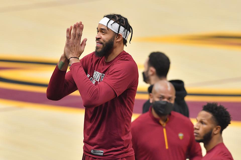 JaVale McGee #6 of the Cleveland Cavaliers thanks the fans prior to the game against the Oklahoma City Thunder at Rocket Mortgage Fieldhouse on February 21, 2021 in Cleveland, Ohio. NOTE TO USER: User expressly acknowledges and agrees that, by downloading and/or using this photograph, user is consenting to the terms and conditions of the Getty Images License Agreement. (Photo by Jason Miller/Getty Images)