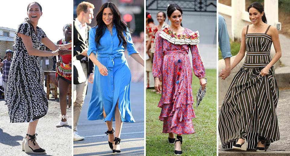 Meghan Markle has worn her Castaner wedges a number of times over the past year [Photo: Getty]
