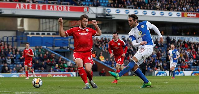 Soccer Football - FA Cup Second Round - Blackburn Rovers vs Crewe Alexandra - Ewood Park, Blackburn, Britain - December 3, 2017 Danny Graham scores Blackburn's second goal Action Images/Carl Recine