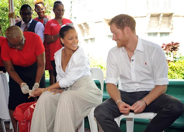 Britain's Prince Harry takes an HIV test alongside singer Rihanna to highlight World AIDS Day in Bridgetown, Barbados December 1, 2016. REUTERS/Antonio Miller/Barbados Government Information Service (BGIS)/POOL