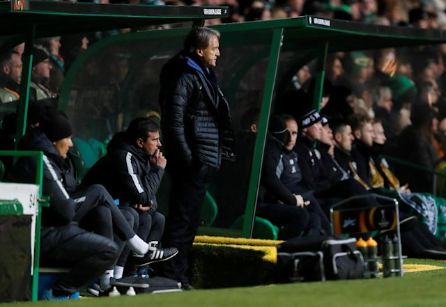 Soccer Football - Europa League Round of 32 First Leg - Celtic vs Zenit Saint Petersburg - Celtic Park, Glasgow, Britain - February 15, 2018 Zenit St. Petersburg coach Roberto Mancini REUTERS/Russell Cheyne