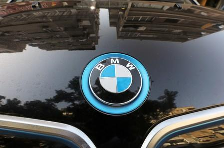 The logo of BMW carmaker is seen on a vehicle in Cairo