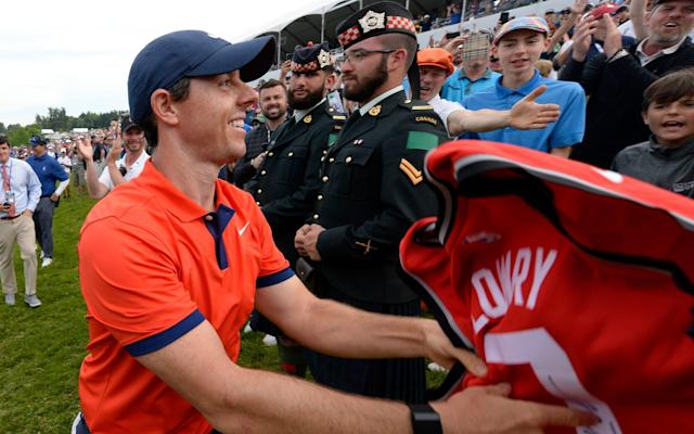 Rory McIlroy celebrates winning the Canadian Open - USA TODAY Sports