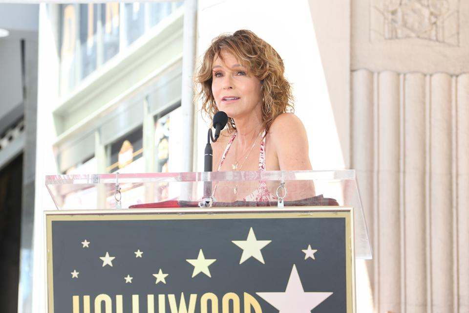 HOLLYWOOD, CALIFORNIA - JULY 24: Actress Jennifer Grey attends a ceremony to honor Kenny Ortega with a star on the Hollywood Walk Of Fame on July 24, 2019 in Hollywood, California. (Photo by Paul Archuleta/FilmMagic)