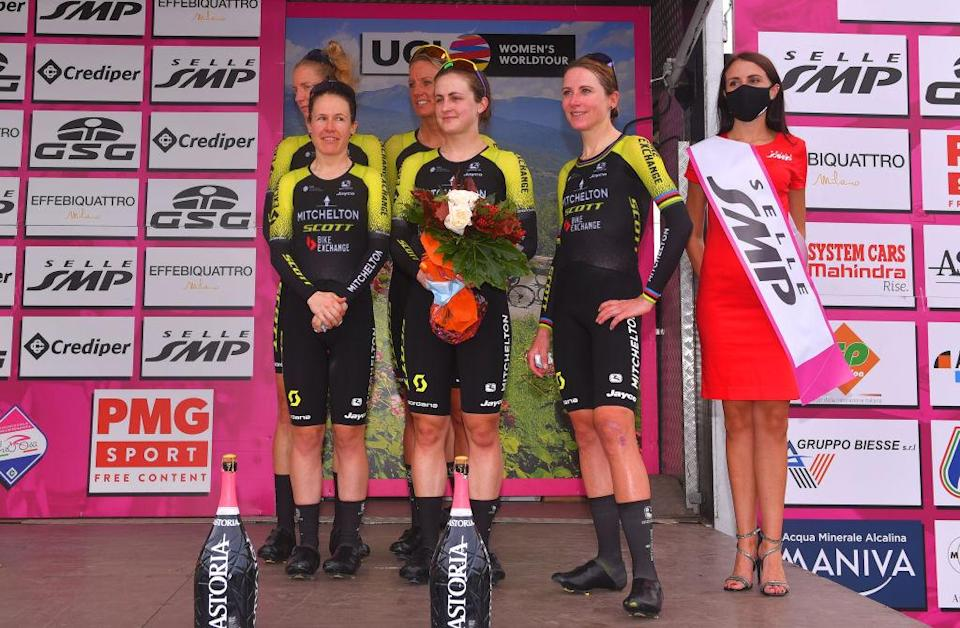 GROSSETO ITALY  SEPTEMBER 11 Podium  Annemiek Van Vleuten of The Netherlands Amanda Spratt of Australia Lucy Kennedy of Australia Moniek Tenniglo of The Netherlands Sarah Roy of Australia and Grace Brown of Australia and Team Mitchelton  Scott  3rd place  Celebration  during the 31st Giro dItalia Internazionale Femminile 2020 Stage 1 a 168km Team Time Trial from Grosseto to Grosseto  TTT  GiroRosaIccrea  GiroRosa  on September 11 2020 in Grosseto Italy Photo by Luc ClaessenGetty Images