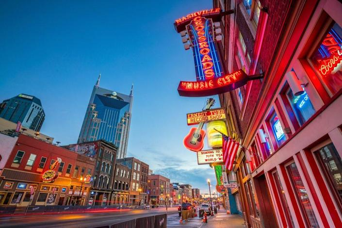 Neon signs on Lower Broadway Area on November 11, 2016 in Nashville, Tennessee, USA