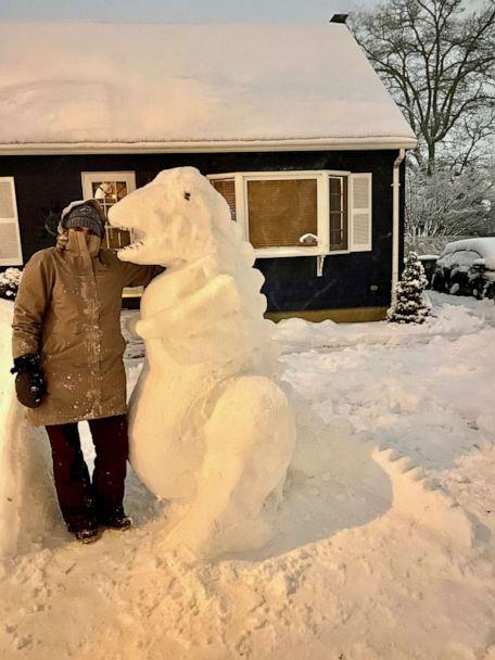 PHOTO: A middle school art teacher named Katina Gustafson of East Providence, Rhode Island, is inspiring her students to get creative during the pandemic by building epic snow sculptures in front of her home. (Katina Gustafson)