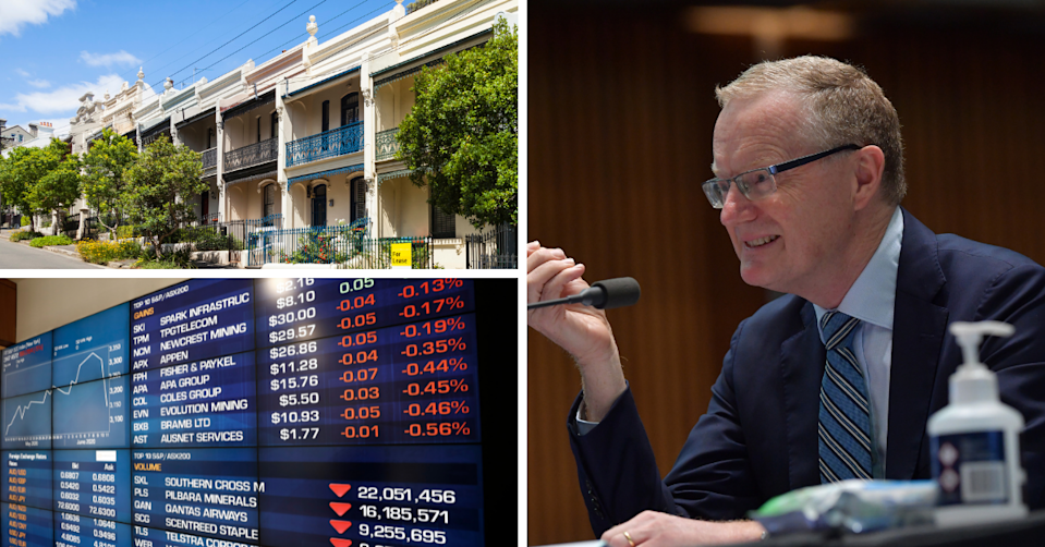 Terrace houses in Sydney, ASX board showing companies in the red and RBA Governor Philip Lowe.